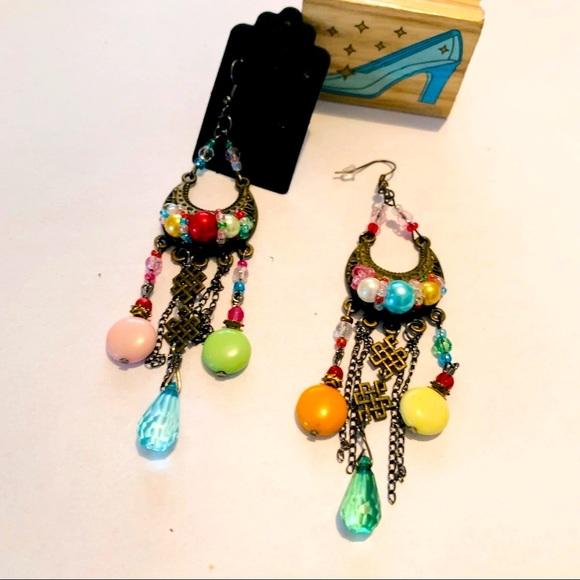 Vintage Brass Dangling Color Drop Boho Earrings